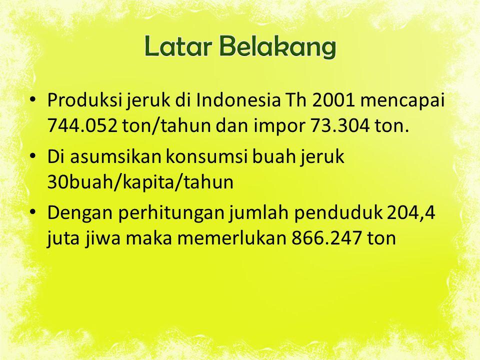 Latar Belakang Produksi jeruk di Indonesia Th 2001 mencapai 744.052 ton/tahun dan impor 73.304 ton.