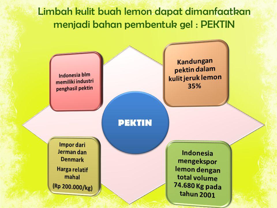 Limbah kulit buah lemon dapat dimanfaatkan menjadi bahan pembentuk gel : PEKTIN