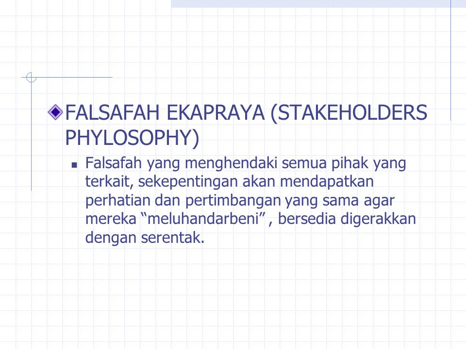 FALSAFAH EKAPRAYA (STAKEHOLDERS PHYLOSOPHY)