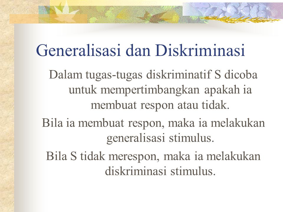 Generalisasi dan Diskriminasi