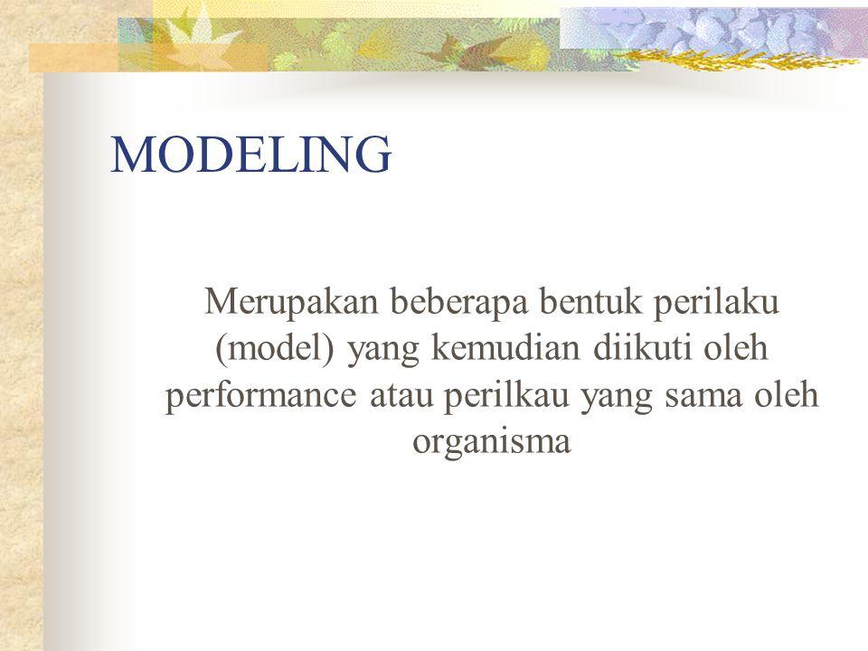 MODELING Merupakan beberapa bentuk perilaku (model) yang kemudian diikuti oleh performance atau perilkau yang sama oleh organisma.