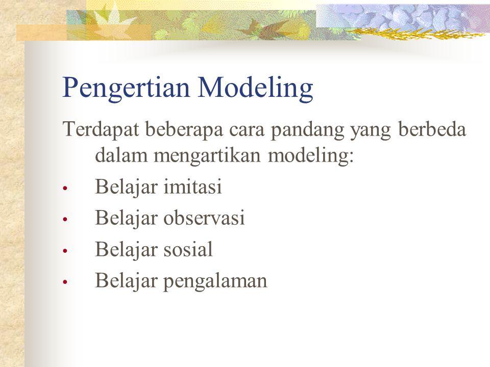 Pengertian Modeling Terdapat beberapa cara pandang yang berbeda dalam mengartikan modeling: Belajar imitasi.