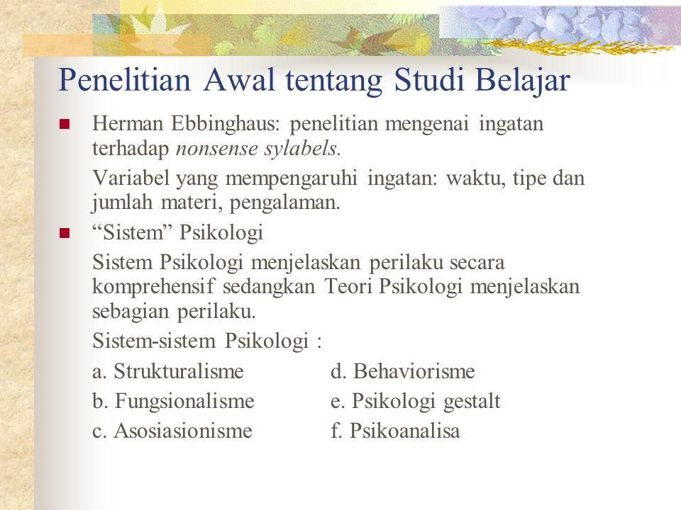 Penelitian Awal tentang Studi Belajar