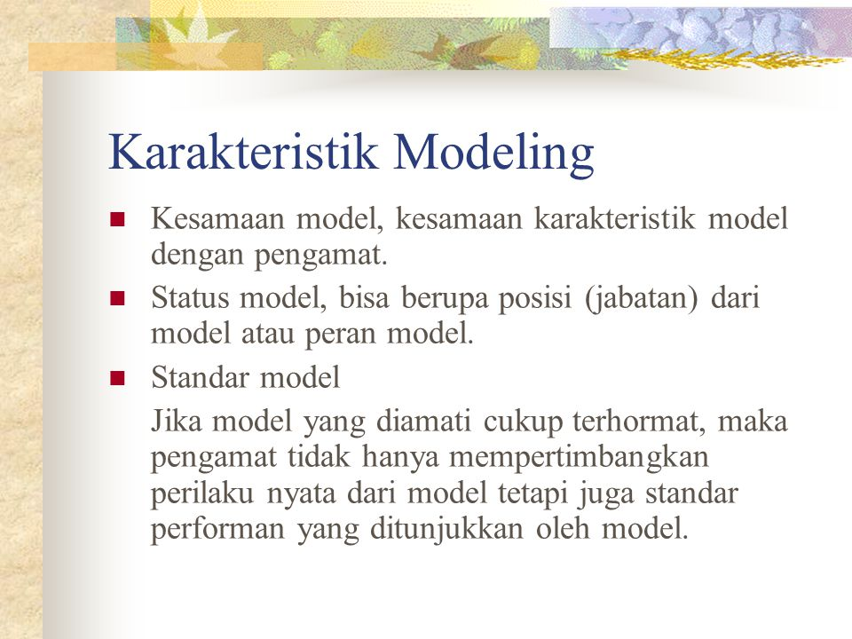 Karakteristik Modeling