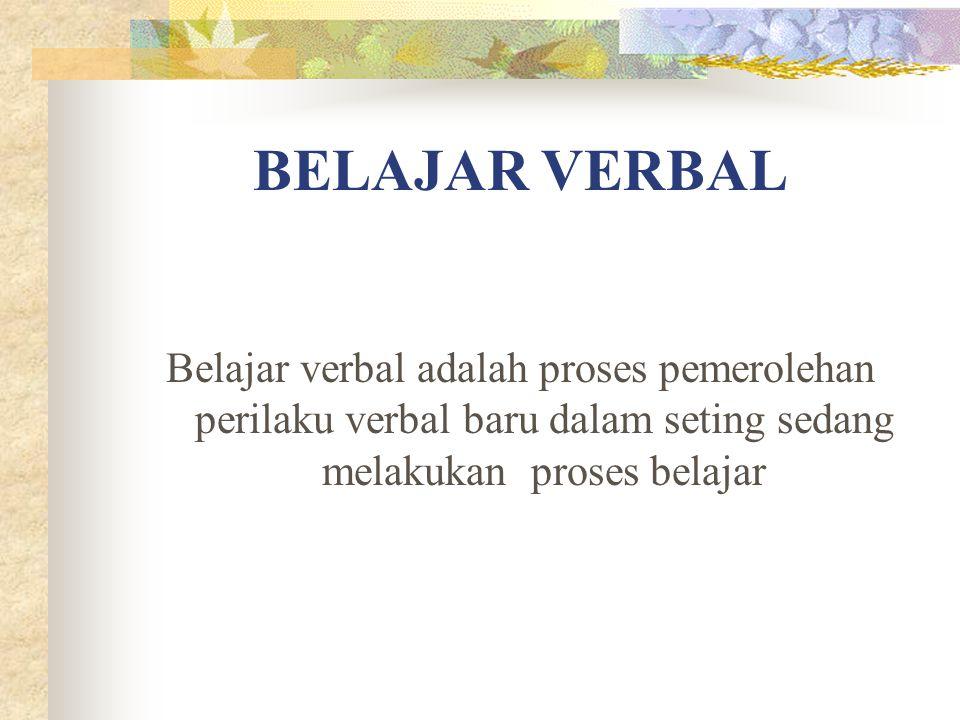 BELAJAR VERBAL Belajar verbal adalah proses pemerolehan perilaku verbal baru dalam seting sedang melakukan proses belajar.
