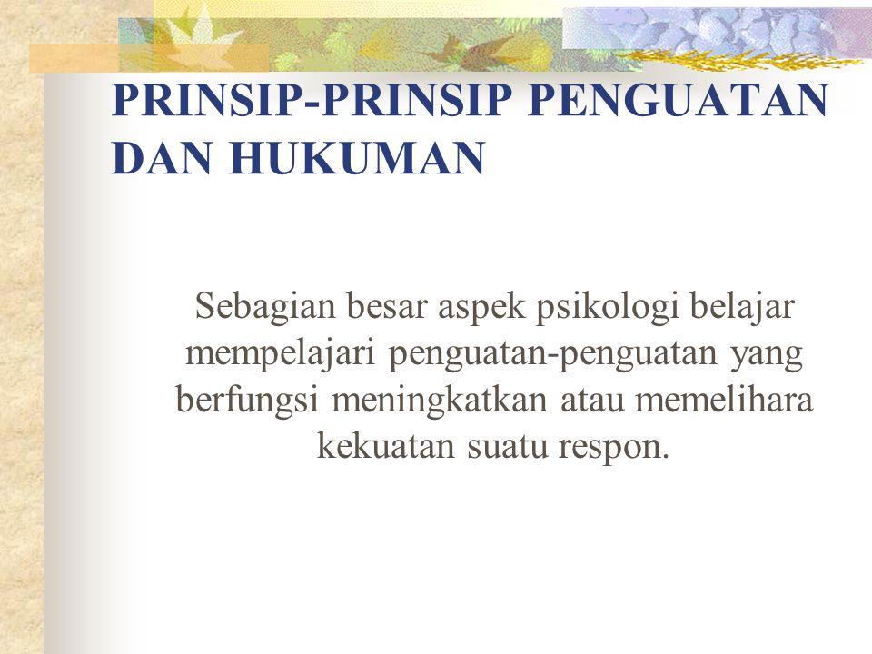 PRINSIP-PRINSIP PENGUATAN DAN HUKUMAN