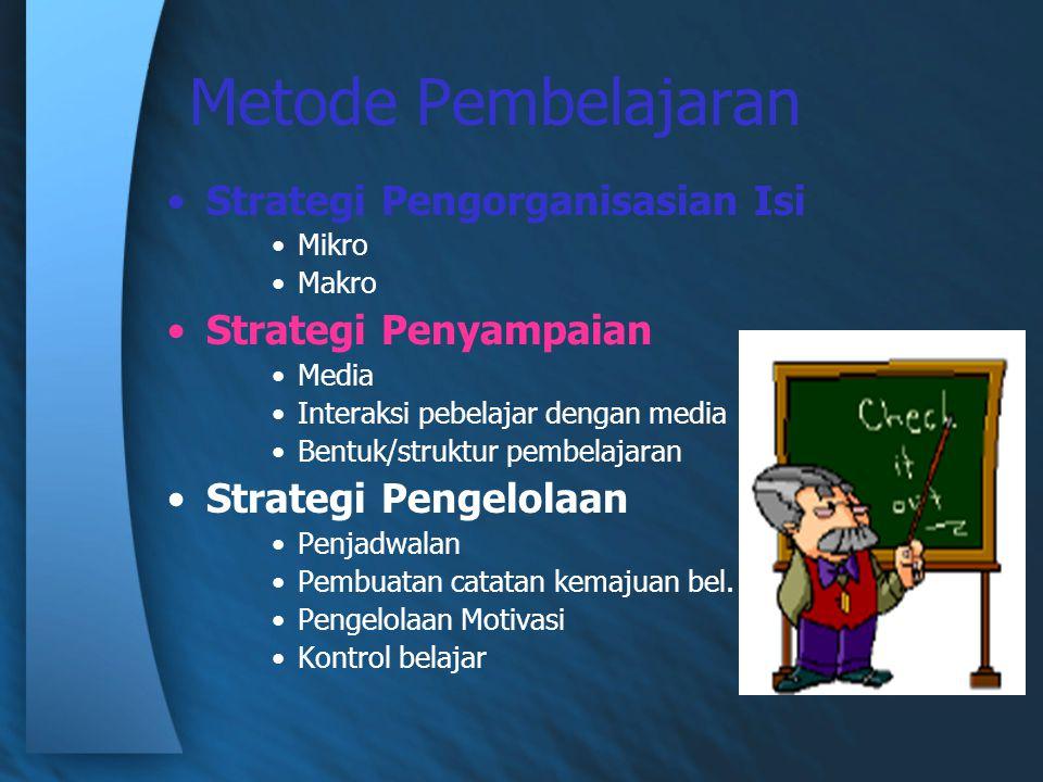 Metode Pembelajaran Strategi Pengorganisasian Isi Strategi Penyampaian