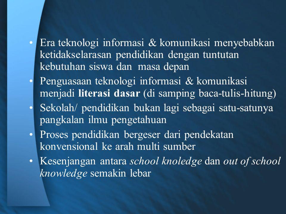Era teknologi informasi & komunikasi menyebabkan ketidakselarasan pendidikan dengan tuntutan kebutuhan siswa dan masa depan