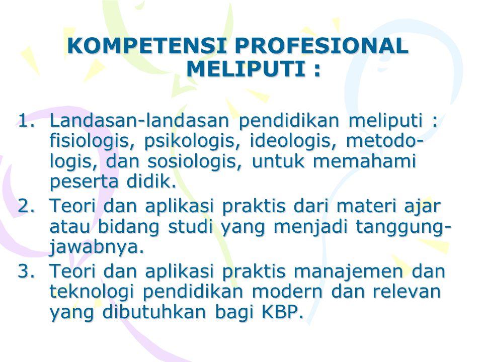 KOMPETENSI PROFESIONAL MELIPUTI :