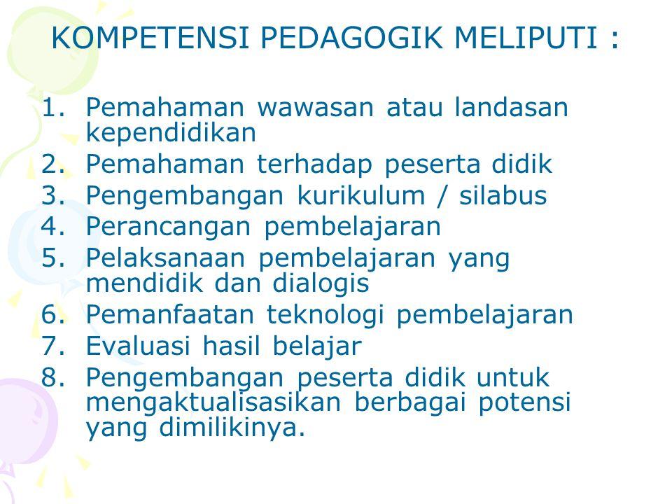 KOMPETENSI PEDAGOGIK MELIPUTI :