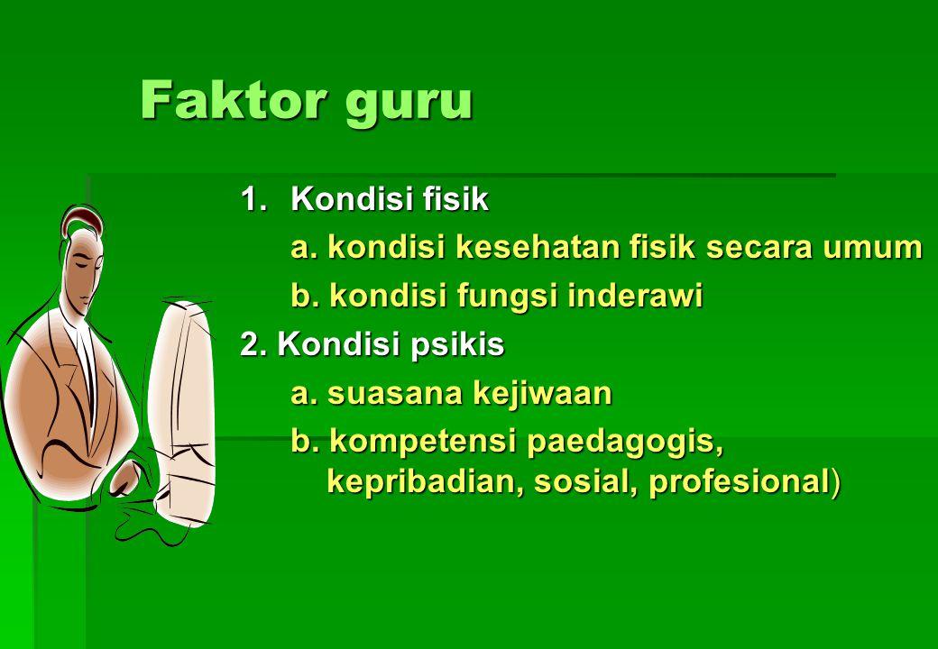 Faktor guru 1. Kondisi fisik a. kondisi kesehatan fisik secara umum