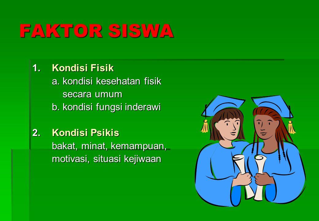 FAKTOR SISWA 1. Kondisi Fisik a. kondisi kesehatan fisik secara umum
