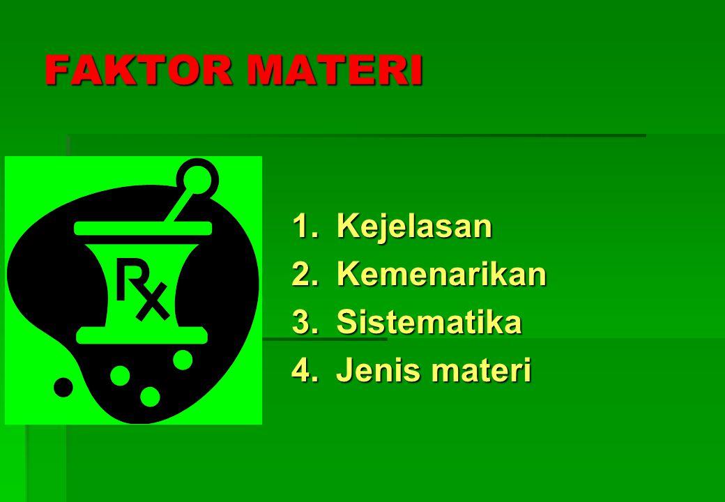 FAKTOR MATERI 1. Kejelasan 2. Kemenarikan 3. Sistematika