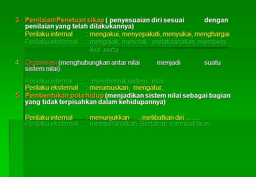 3. Penilaian/Penetuan sikap ( penyesuaian diri sesuai
