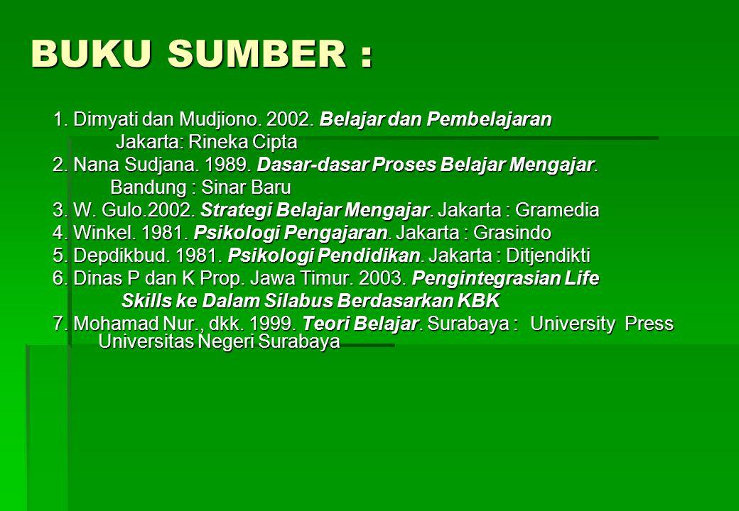 BUKU SUMBER : 1. Dimyati dan Mudjiono. 2002. Belajar dan Pembelajaran