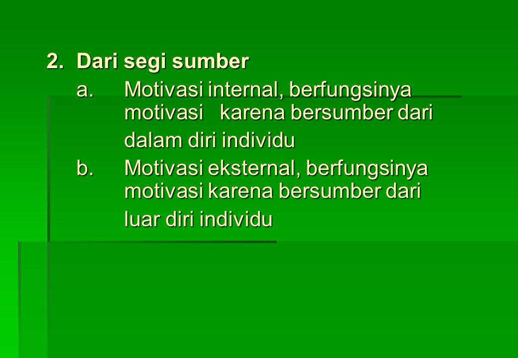 2. Dari segi sumber a. Motivasi internal, berfungsinya motivasi karena bersumber dari. dalam diri individu.
