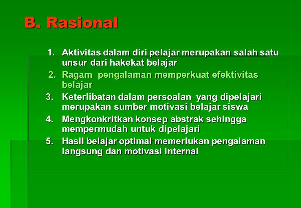 B. Rasional 2. Ragam pengalaman memperkuat efektivitas belajar