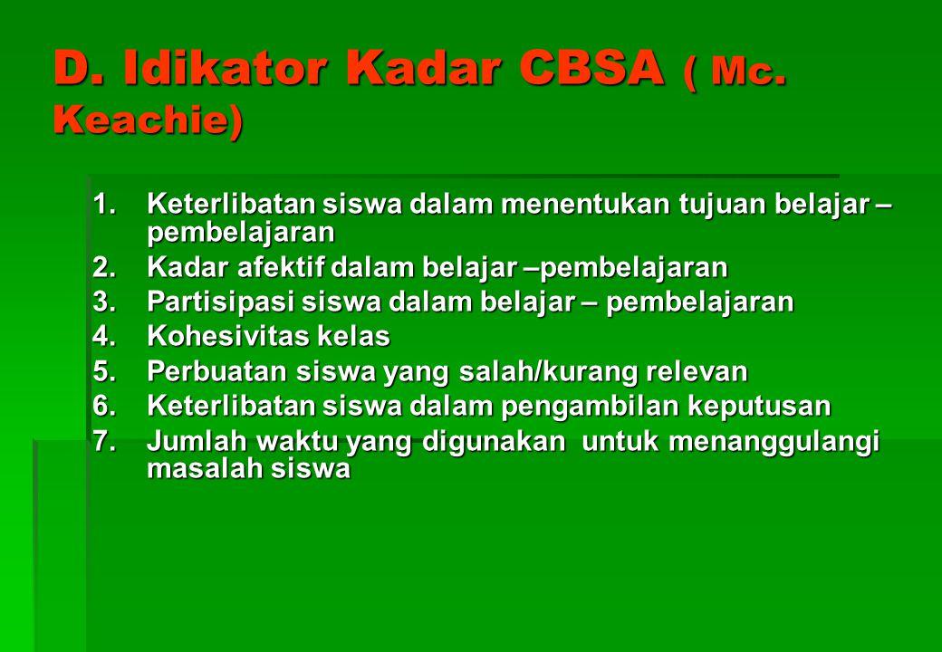 D. Idikator Kadar CBSA ( Mc. Keachie)