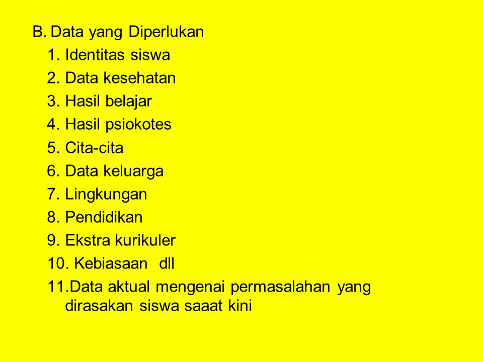 Data yang Diperlukan Identitas siswa. Data kesehatan. Hasil belajar. Hasil psiokotes. Cita-cita.