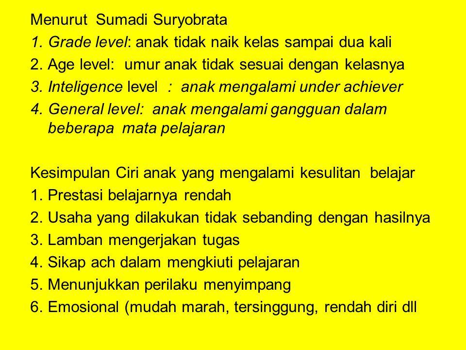 Menurut Sumadi Suryobrata