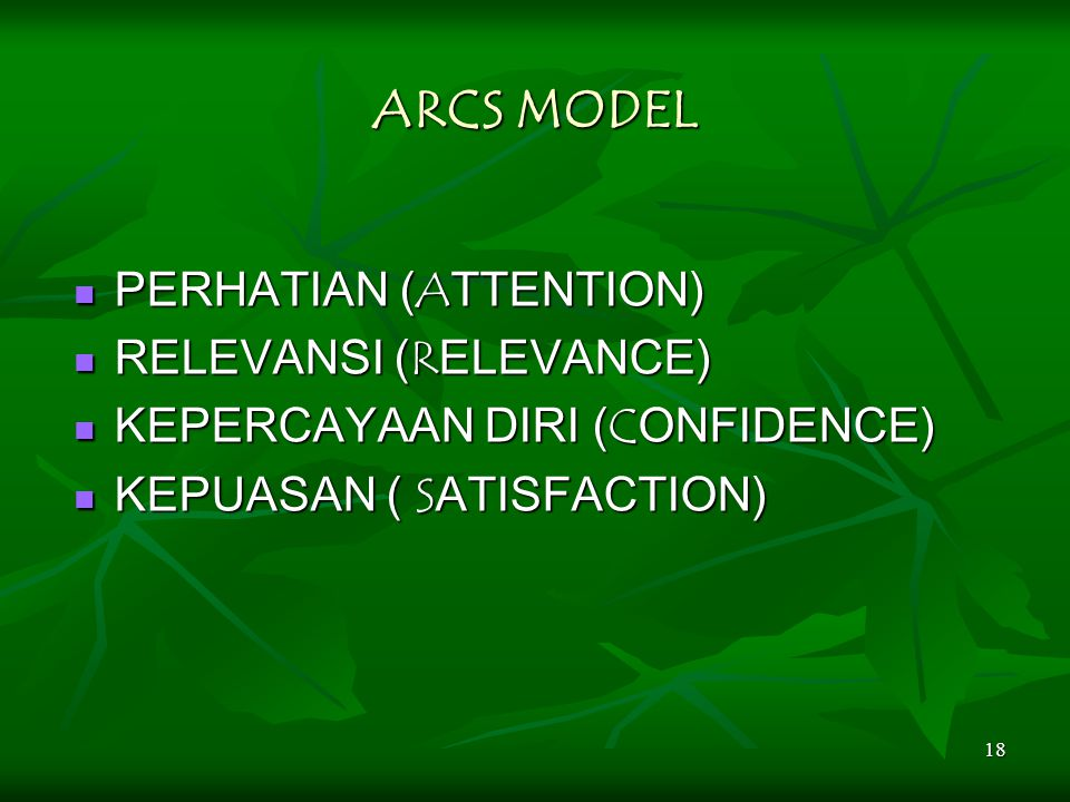 ARCS MODEL PERHATIAN (ATTENTION) RELEVANSI (RELEVANCE)