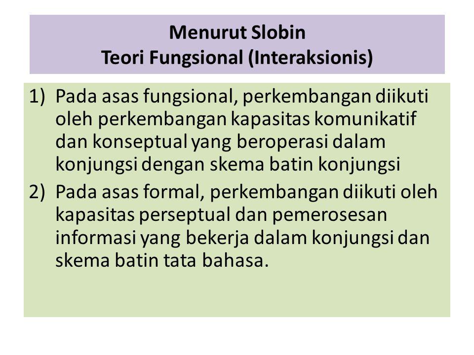 Menurut Slobin Teori Fungsional (Interaksionis)