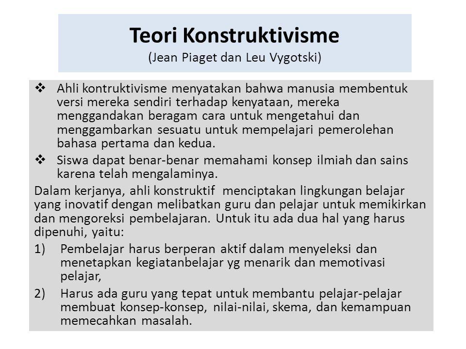 Teori Konstruktivisme (Jean Piaget dan Leu Vygotski)