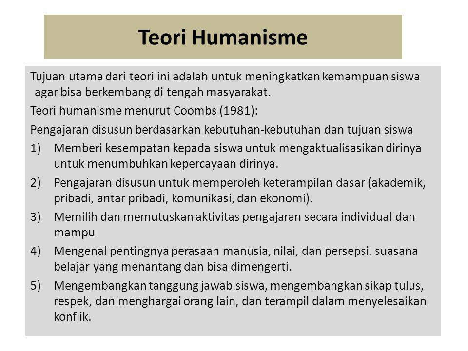 Teori Humanisme Tujuan utama dari teori ini adalah untuk meningkatkan kemampuan siswa agar bisa berkembang di tengah masyarakat.