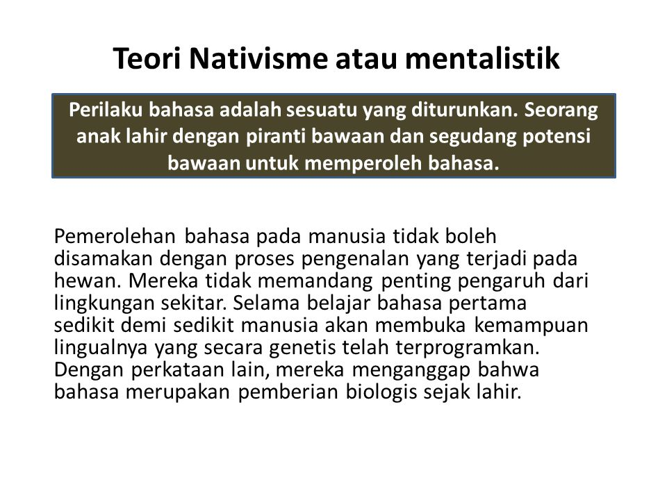Teori Nativisme atau mentalistik