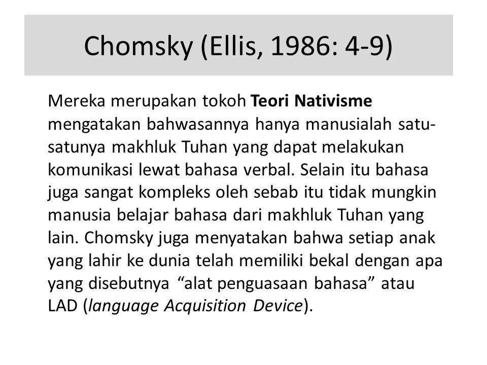 Chomsky (Ellis, 1986: 4-9)