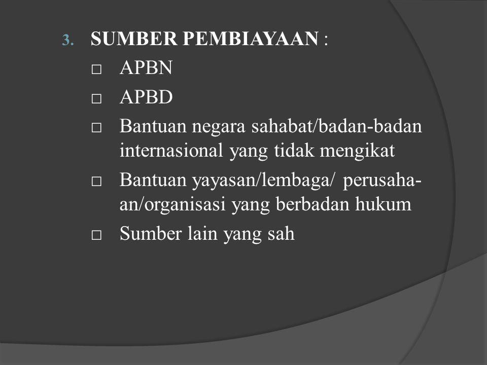 SUMBER PEMBIAYAAN : □ APBN. □ APBD. □ Bantuan negara sahabat/badan-badan internasional yang tidak mengikat.