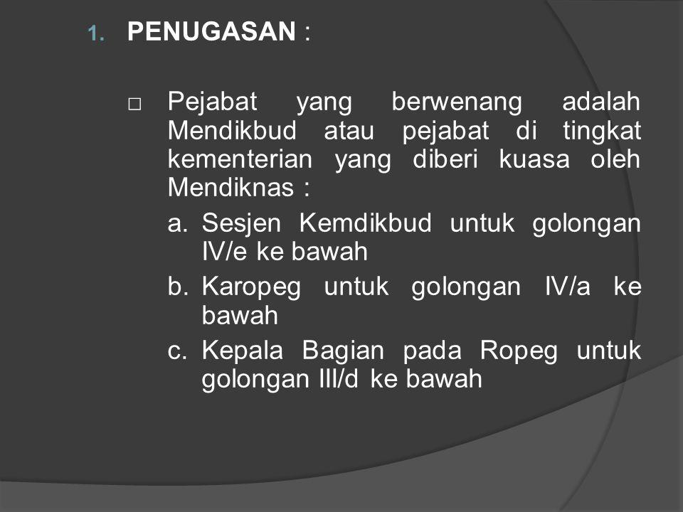 PENUGASAN : □ Pejabat yang berwenang adalah Mendikbud atau pejabat di tingkat kementerian yang diberi kuasa oleh Mendiknas :