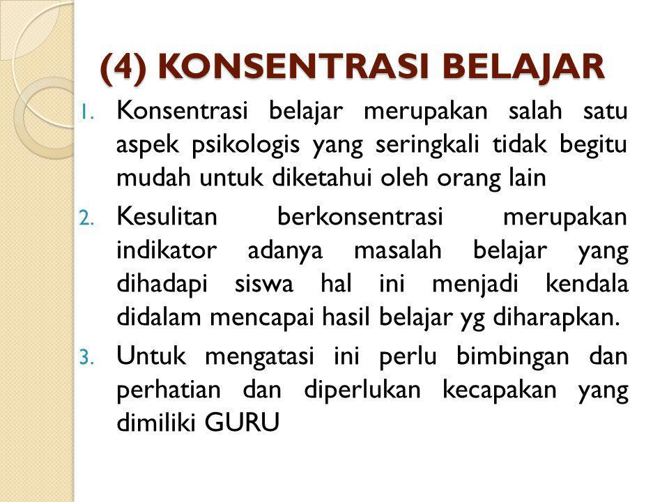 (4) KONSENTRASI BELAJAR