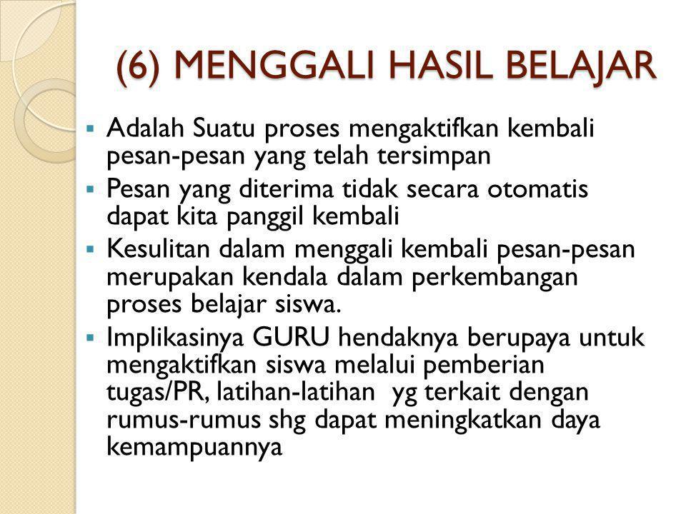 (6) MENGGALI HASIL BELAJAR