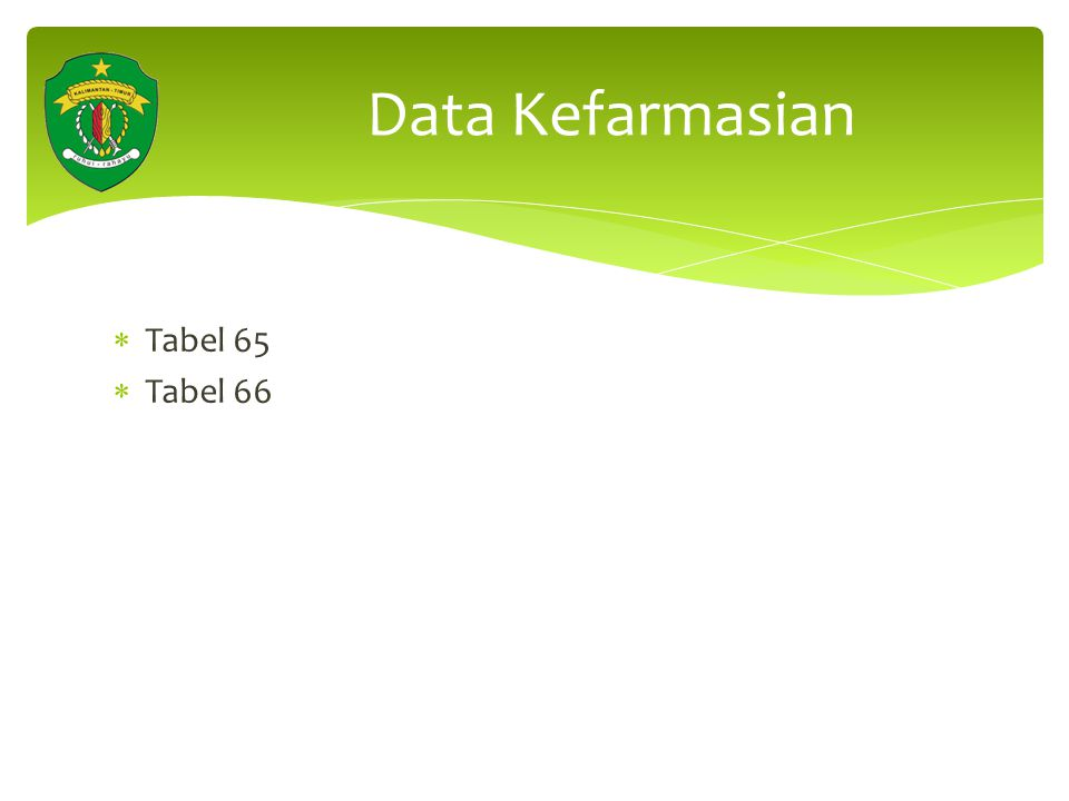 Data Kefarmasian Tabel 65 Tabel 66