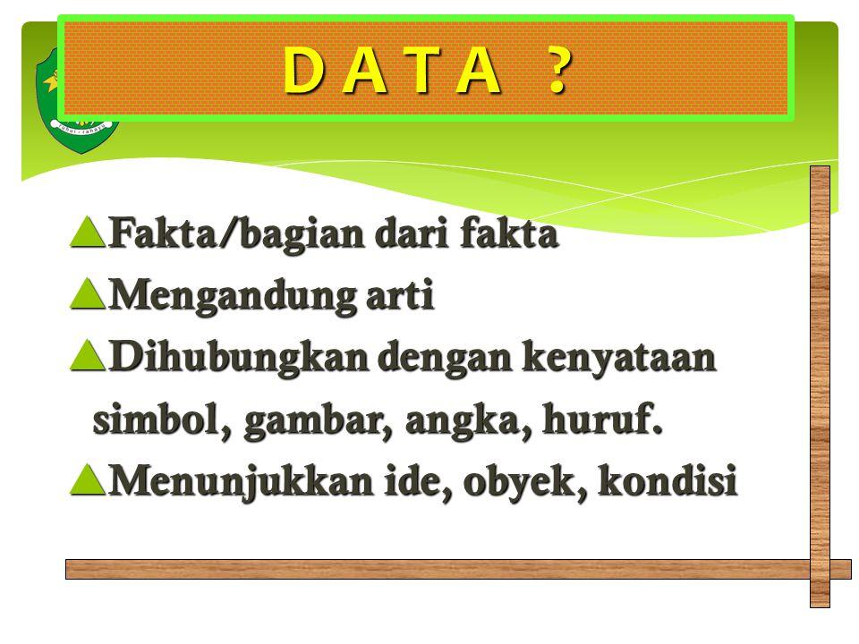 D A T A Fakta/bagian dari fakta Mengandung arti