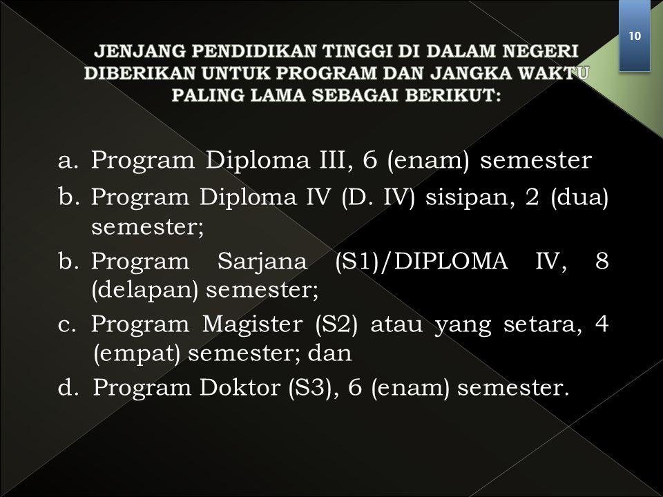 a. Program Diploma III, 6 (enam) semester