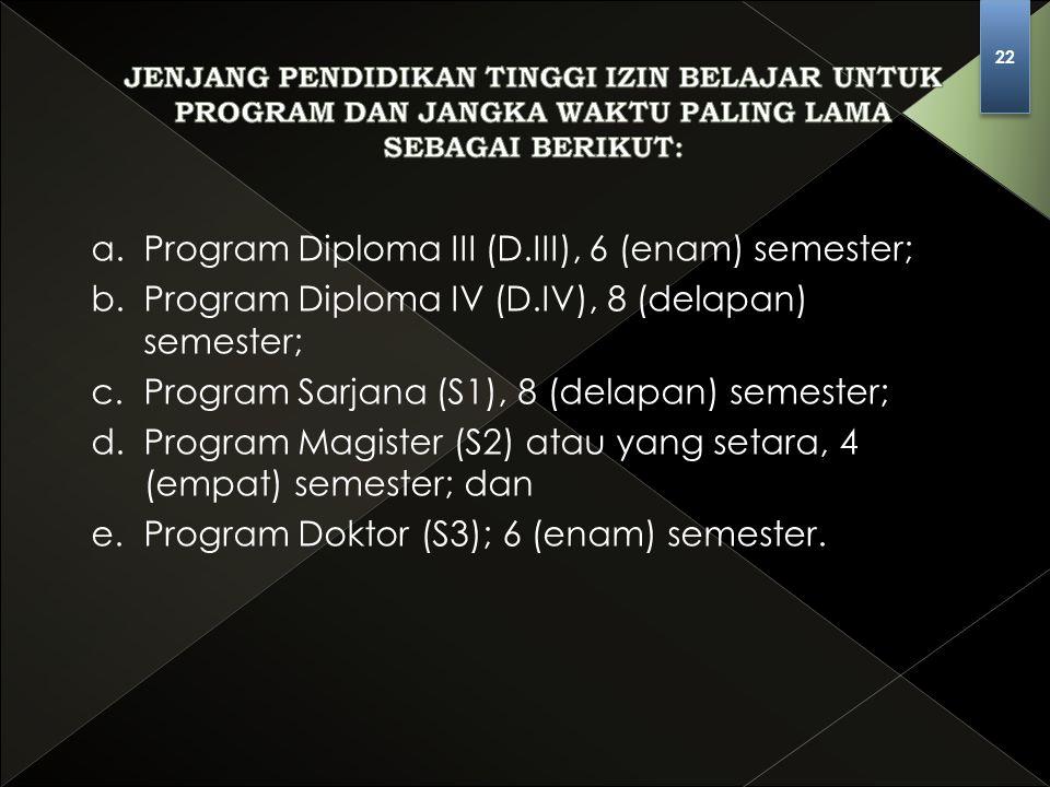 a. Program Diploma III (D.III), 6 (enam) semester;