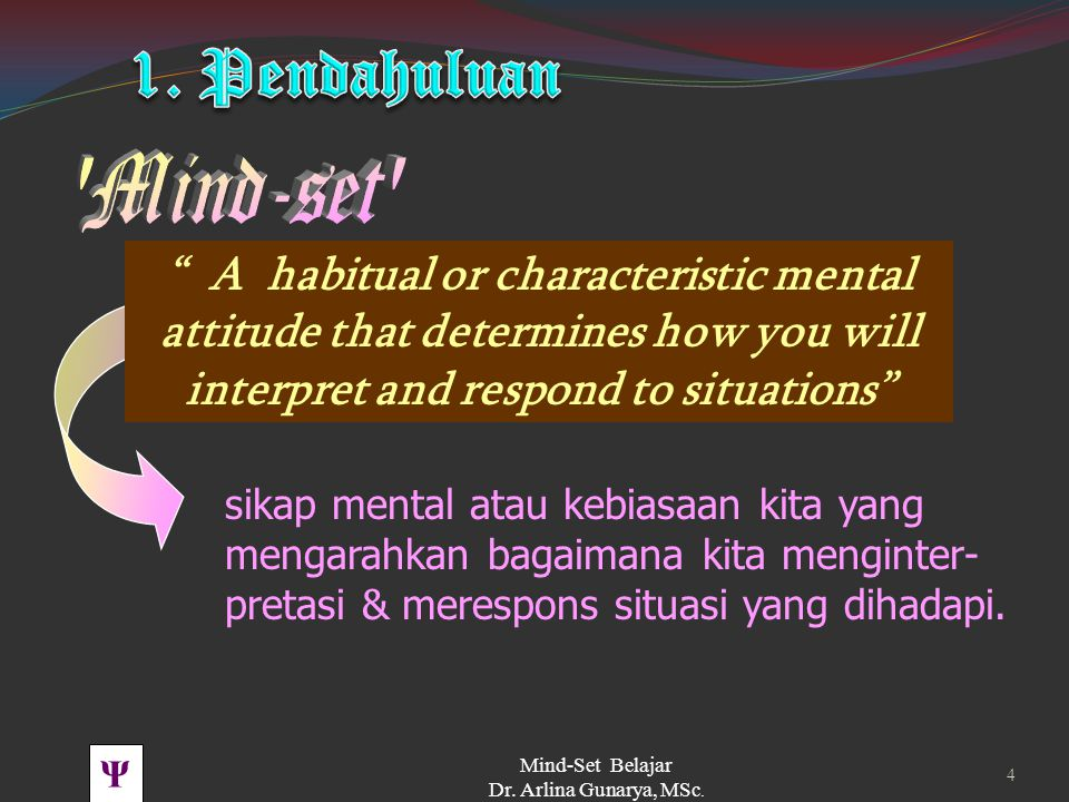 1. Pendahuluan Mind-set A habitual or characteristic mental attitude that determines how you will interpret and respond to situations