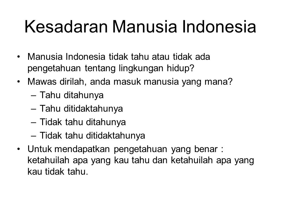 Kesadaran Manusia Indonesia