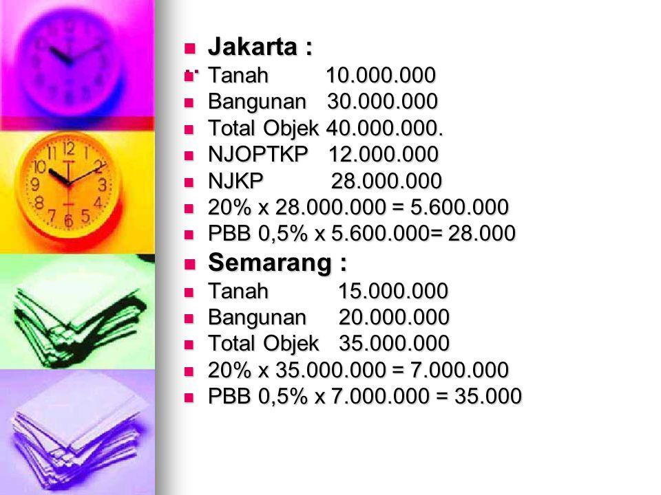 .. Jakarta : Semarang : Tanah 10.000.000 Bangunan 30.000.000