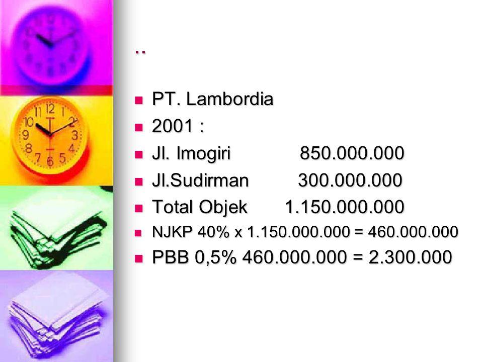 .. PT. Lambordia 2001 : Jl. Imogiri 850.000.000