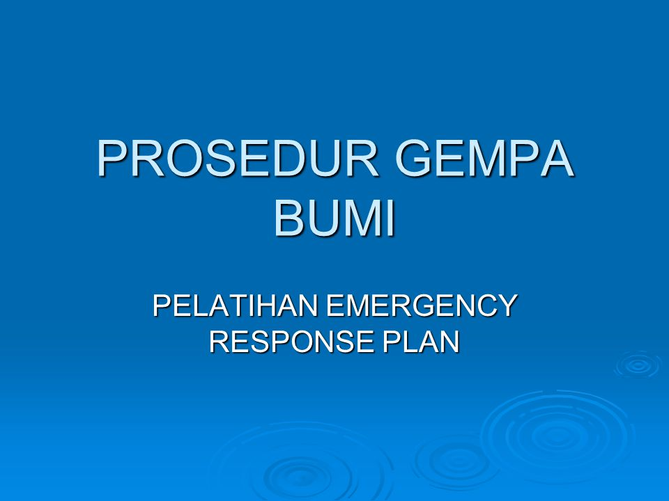 PELATIHAN EMERGENCY RESPONSE PLAN