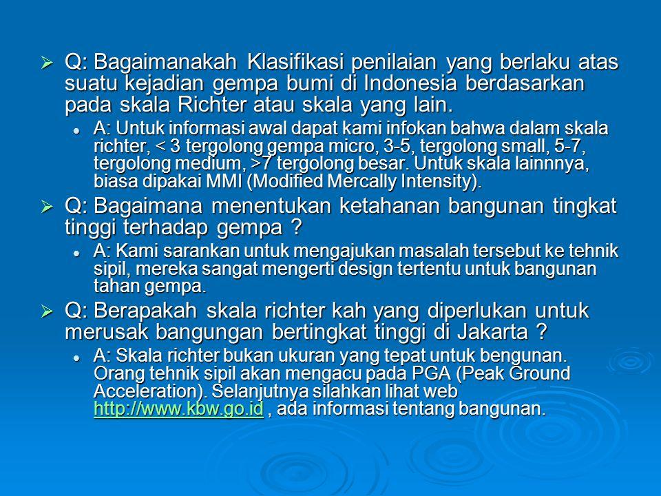 Q: Bagaimanakah Klasifikasi penilaian yang berlaku atas suatu kejadian gempa bumi di Indonesia berdasarkan pada skala Richter atau skala yang lain.