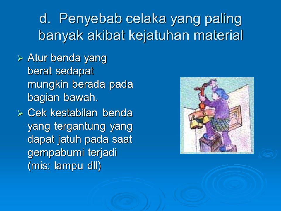 d. Penyebab celaka yang paling banyak akibat kejatuhan material