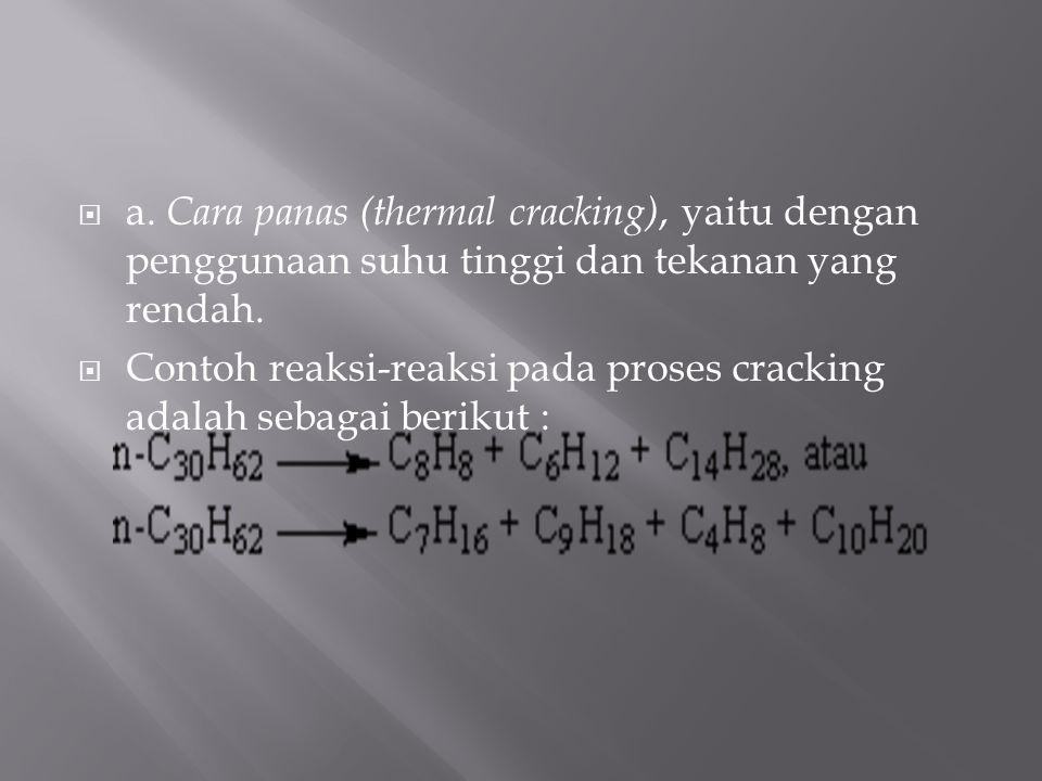 a. Cara panas (thermal cracking), yaitu dengan penggunaan suhu tinggi dan tekanan yang rendah.