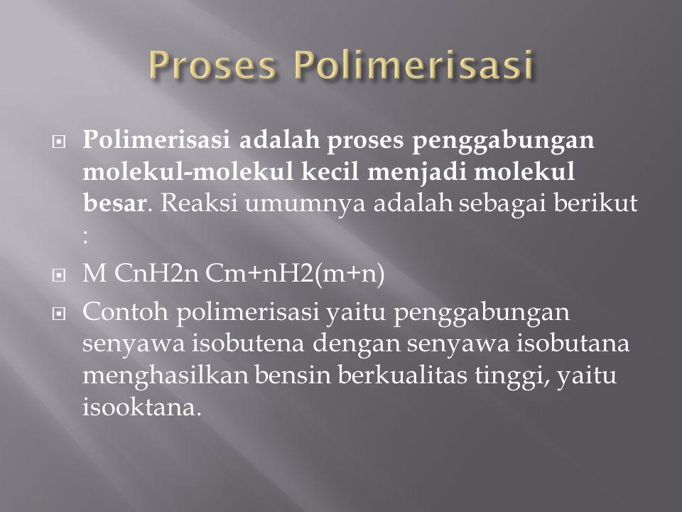Proses Polimerisasi Polimerisasi adalah proses penggabungan molekul-molekul kecil menjadi molekul besar. Reaksi umumnya adalah sebagai berikut :