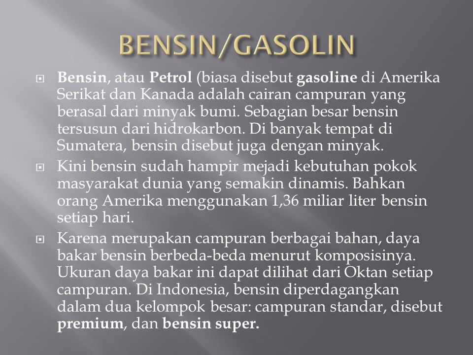 BENSIN/GASOLIN