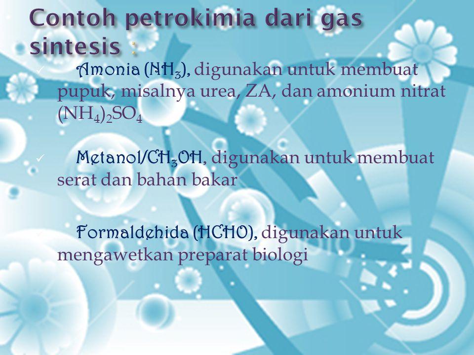 Contoh petrokimia dari gas sintesis :