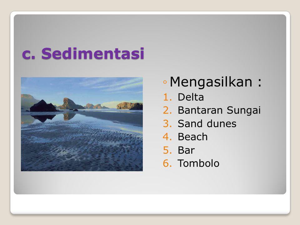 c. Sedimentasi Mengasilkan : Delta Bantaran Sungai Sand dunes Beach